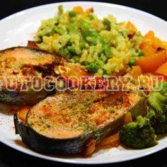 кижуч запеченный с овощами