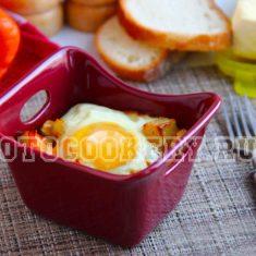 Картофель, запеченный с яйцом и болгарским перцем