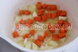 морковь + лук жарим крупно